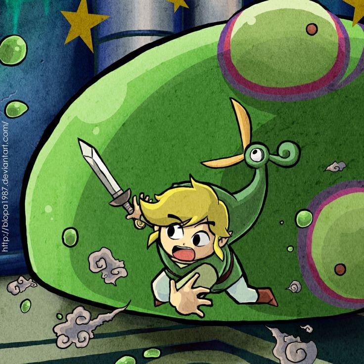 Link vs Big Green Chuchu, The Legend of Zelda: The Minish Cap artwork by Blopa1987.
