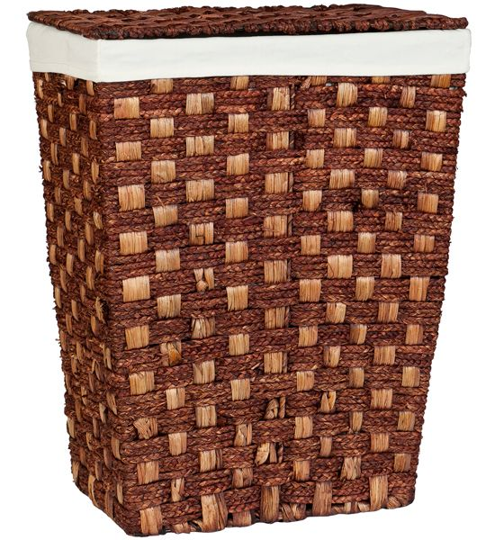 The Espresso Woven Laundry Hamper with Lid add a stylish touch to any room and gives you a nice place to place dirty laundry.