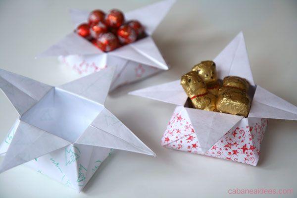 Origami : fabriquer des petites boites étoiles