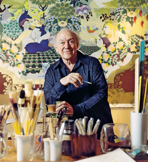 Tusindkunstneren    Bjørn Wiinblad (1918-2006), udannet på Kunstakademiets grafi ske skole 1940-43, eget keramisk værksted fra 1952. Illustrerede bøger, tegnede plakater, designede gobeliner og store keramiske udsmykninger og lavede sceografi
