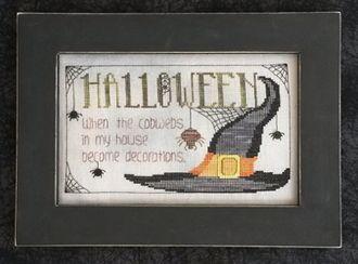 Waxing Moon Halloween Cobwebs Halloween counted cross stitch pattern chart