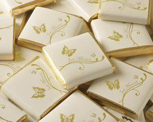 50 ivory just married gold butterfly chocolate neapolitan wedding favours: Amazon.co.uk: Kitchen & Home