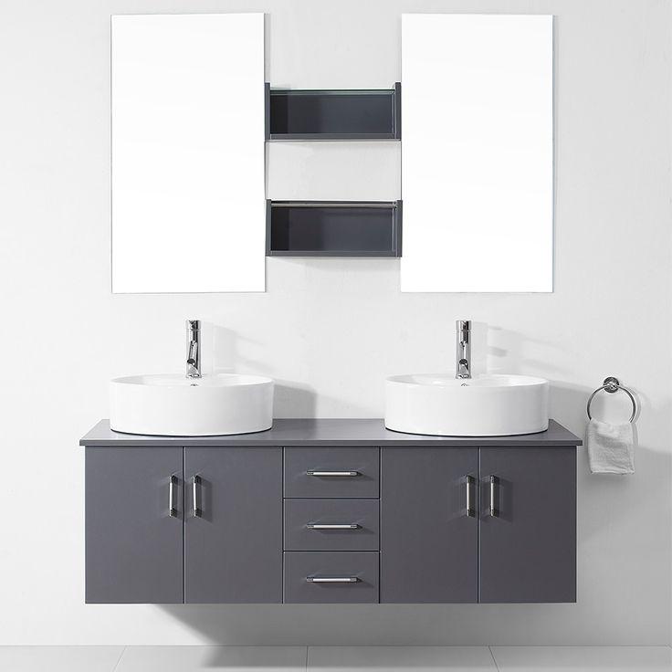 Virtu USA Enya 59-inch Grey Double Sink White Vanity Set