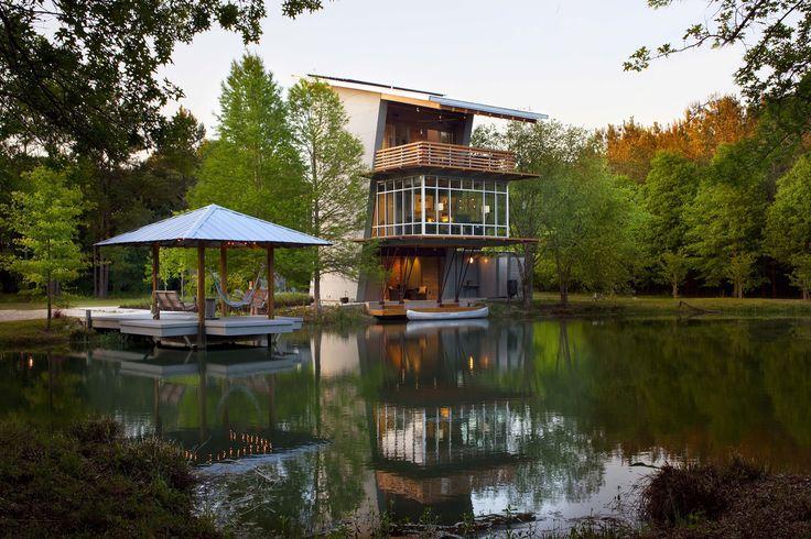 Casa Lagoa na fazenda Ten Oaks / Holly And Smith Architects