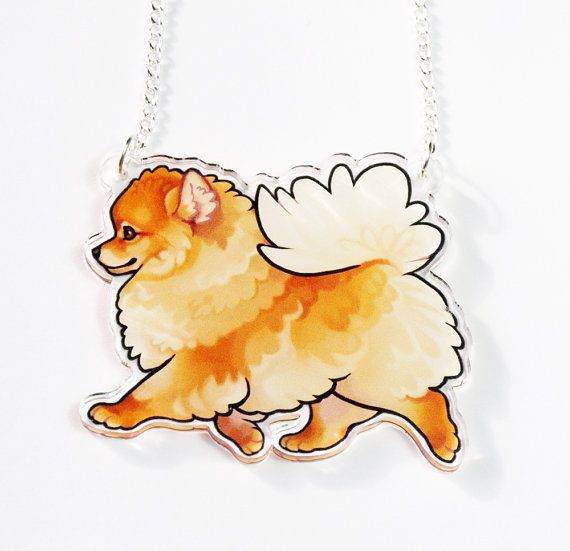 PomParade! A strikingly cute Pomeranian necklace in mid stride, perfect for any dog lover out there.  The Illustration is proffessionally printed on to 3mm thick clear acrylic. The vibrant image is durable and water resistant. The Necklace hangs on 42 cm of jewelry curb chain with a lobster fastening. Pomeranian part measures 5cm long  Comes in a recycled little keepsake box as in the images