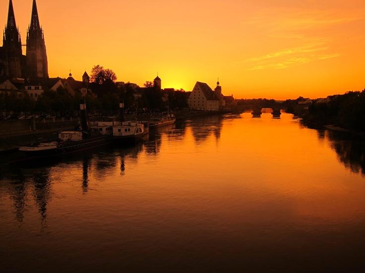Danube.  Regensburg.  Sunset.