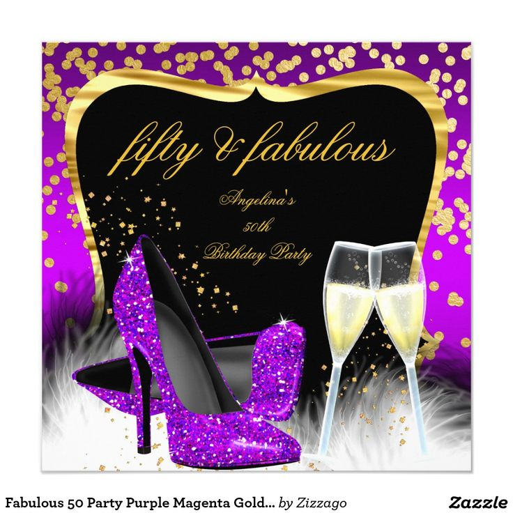 Fabulous 50 Party Purple Magenta Gold Champagne Card ...