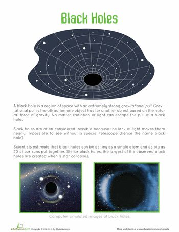 Worksheet: What is a Black Hole? Free printable