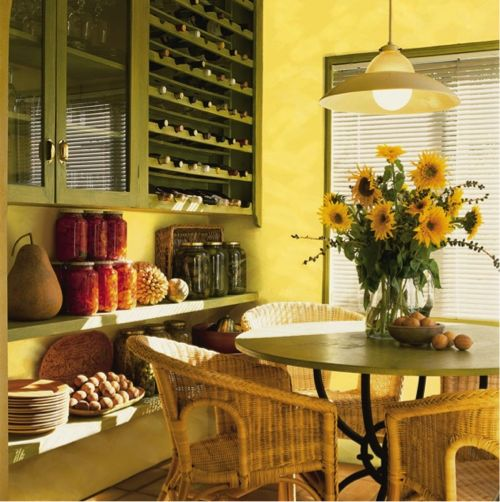 A bright midday sw 6695 kitchen design paint for Yellow dining room ideas