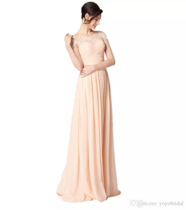 Fashion Peach Lace 2017 Cheap Bridesmaid Dresses Short Sleeve Chiffon Pleated Sheer Neck Beach Style Wedding Party Guest Prom Dresses Gowns Short Black Bridesmaid Dresses Short Gown From Yoyobridal, $78.19| Dhgate.Com