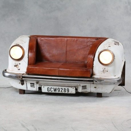 Upcyled sofa- modern day upholster styles just get more cool with car parts