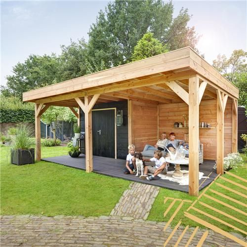 Overkapping plat dak zonder berging 605 x 358 cm - Tuinafscheiding.nl