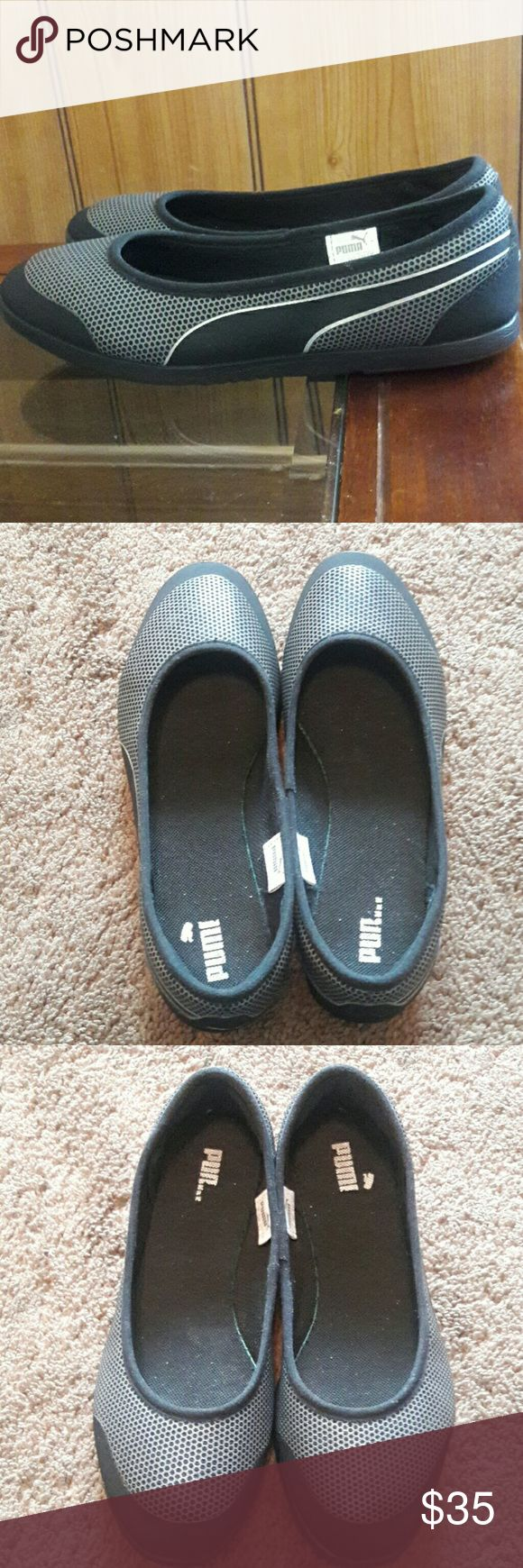 PUMA CASUAL SHOES PUMA CASUAL SHOES, size 6.5 very confotable, flat, perfect for summer and fall, sintethic upper, in very good conditions the only damage is don't have the complete name refer to picture #2  BUNDLE AND SAVE 20% OPEN TO OFFER 😊 Puma Shoes Flats & Loafers