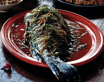 Whole Black Bass with Ginger and Scallions