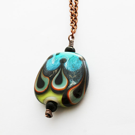 Black waves lampwork glass and copper necklace by evasmidt on Etsy, $55.00