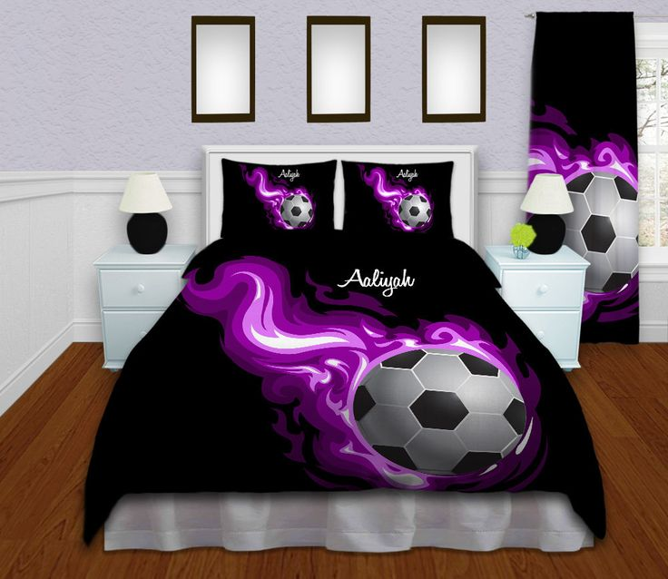 Soccer Bedding, Personalized Soccer Duvet Cover, Sports Bedding, Flames Purple Duvet, King, Queen, Full, Twin, College, Dorm, Twin XL #142 by EloquentInnovations on Etsy