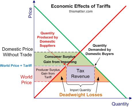 A graph showing the economic effects of tariffs, including