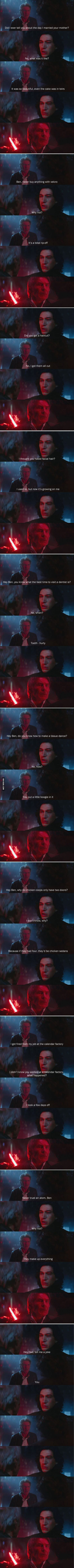 this is funny yet every time he stuck the lightsaber through Han I cried