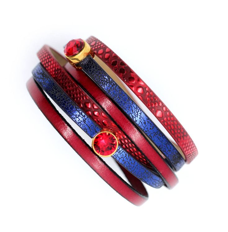 Swarovski leather bracelet, red blue cuff wrap bracelet, ledies bracelet with magnetic clasp zamak, boho chic gift for her, mothers day gift by KociokwikJewelry on Etsy