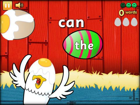 Eggy 100 HD – Practice sight words with eggs! This is a cute app that has access to 100 sight words (the full version has 250). It also has a choice of accents: Australia, English, and United States. (No ads!)