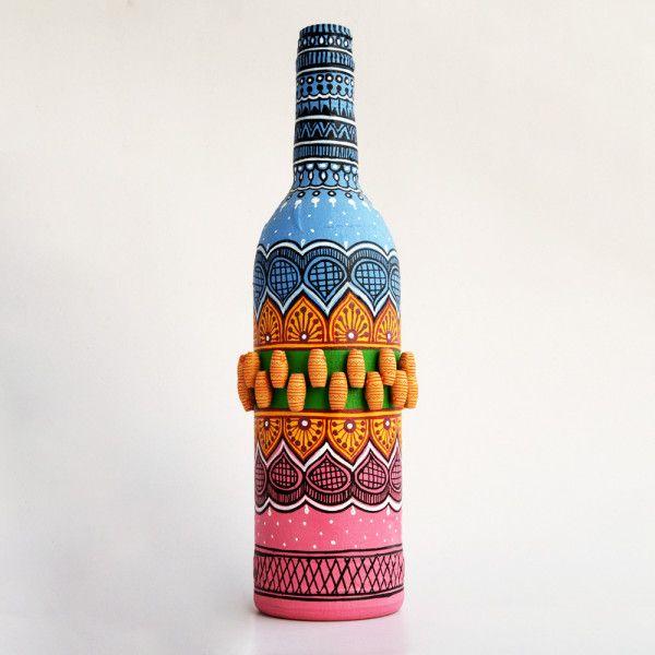 Art Can B Bottle Art Flower Vase Blue And Pink Tomb Design Bottle Art Glass Bottles Art Glass Bottle Crafts