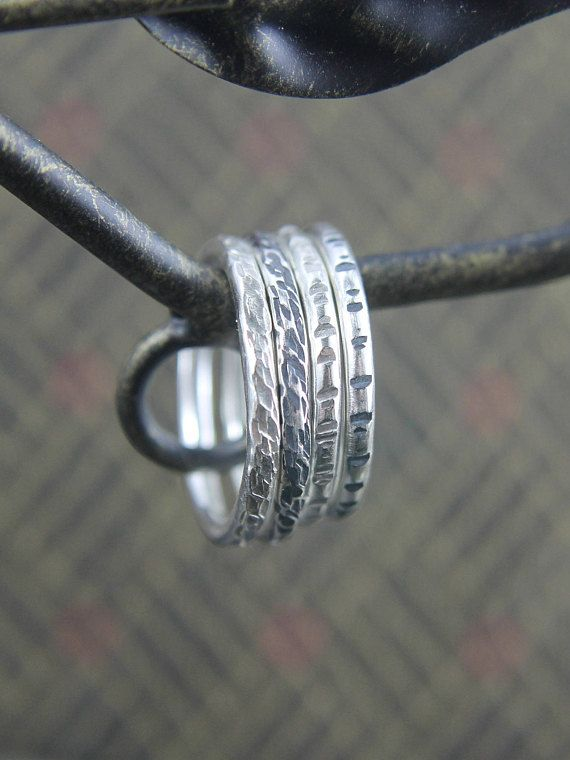 Textured Stackable Sterling Silver Ring, Wood Bark or Notched Pattern, Midi Ring, Gift for Him or Her, Size 3 to 15, Mens or Ladies Jewelry