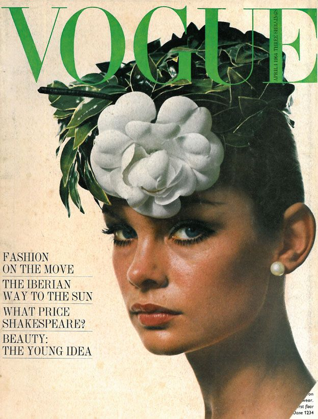 April 1964: White Flower, David Baileys, April 1964, British Vogue, Jeans Shrimpton, Vogue April, Magazines Covers, Vintage Vogue, Vogue Covers