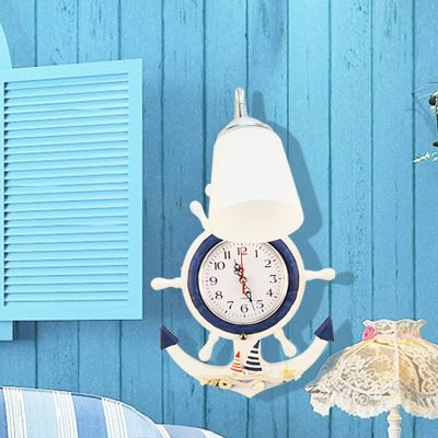 Mediterranean Cartoon Anchors Bedroom Clock Wall Lamp Kid's Room Wall Lamp Creative Baby Room Wall Lamp