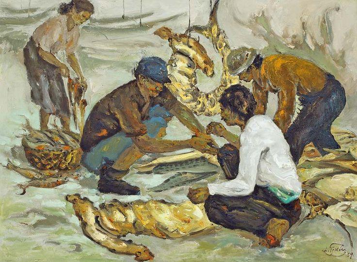 Liem Tjoe Ing (Surakarta, 1922-1996) - Pelelangan Ikan (vis verkoop), 1989.