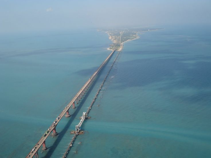 Annai Indira Gandhi Bridge / Pamban Bridge at Rameshwaram Tamil Nadu.It was India's first sea bridge and second longest sea bridge in India.