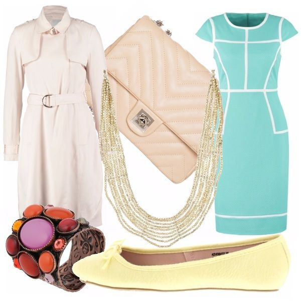 Il vestito azzurro pastello è classico, eppure, grazie alla fantasia e al taglio, riesce a reinventarsi in modo moderno. L'ideale  è usare accessori che siano nello stesso tono, come la borsettina color cipria,  classica ma con una fantasia un po' più accattivante del solito. Puntiamo invece tutto sul classico con le ballerine gialle e il trench rosa pastello, in una tonalità chiarissima.