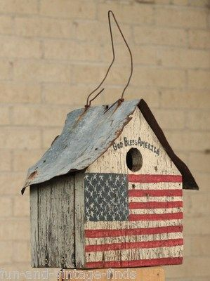 Wood God Bless America Old Rusty Birdhouse Country Garden Yard Wedding Decor   eBay