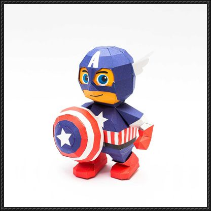 Marvel Comics - Chibi Captain America Free Papercraft Download - http://www.papercraftsquare.com/marvel-comics-chibi-captain-america-free-papercraft-download.html
