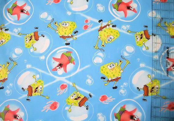SPONGEBOB cartoon cotton fabric aqua children show SALE