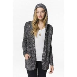 Heather black hooded knit cardigan with color specks