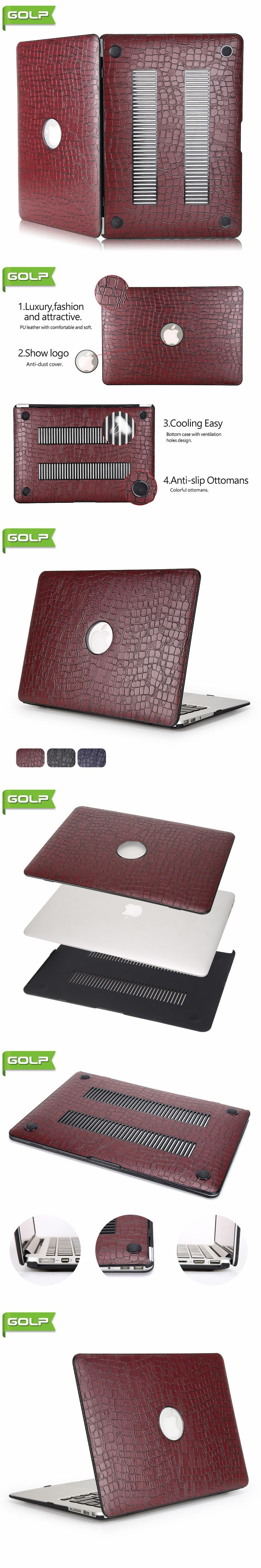 """Cover & Case for MacBook Air 11.6"""", GOLP Crocodile Grain PU Leather Cover cooling free PC laptop Case for MacBook Air 11.6"""""""