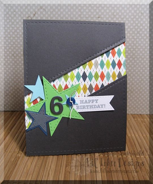Lil' Inker Designs: Stitched Rectangles, Stitched Stars, Stitched Sentiment Flag, On the Diagonal dies and Sugar Kissed Cottage Surprise! stamp set; My Favorite Things Stars, Papertrey Ink number dies