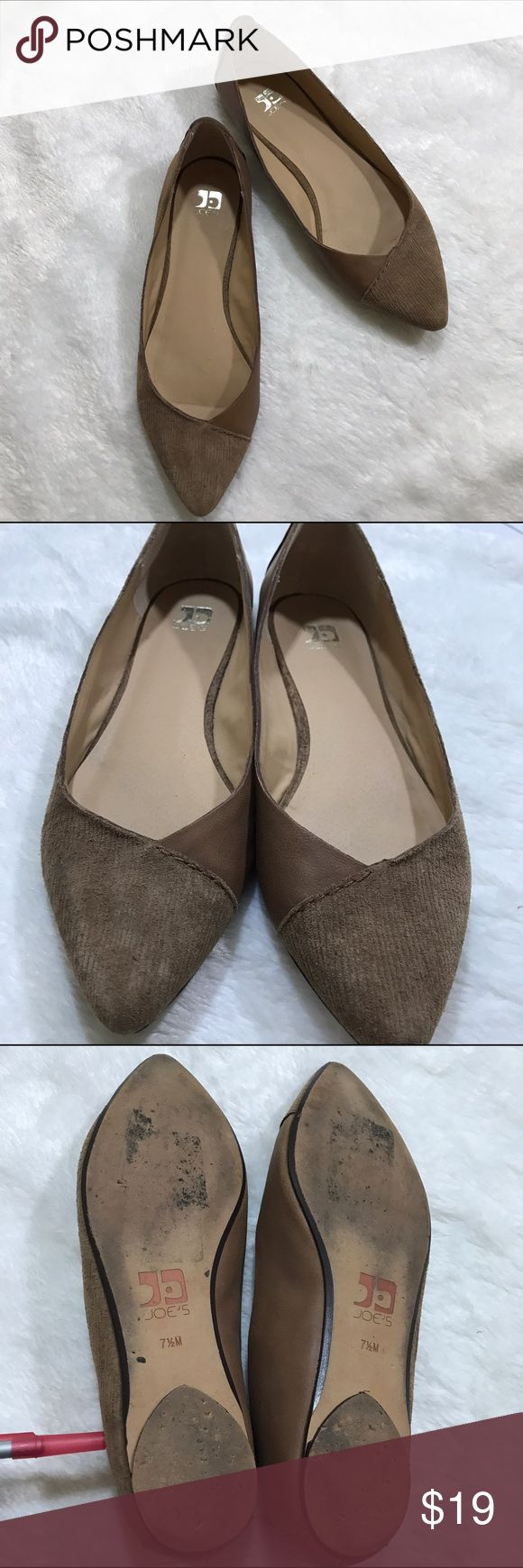 Joe's Azure Corduroy/Leather Brown Flats In ok condition, shows wear on toe fronts and bottom of the shoes shown on pictures. Joe's Shoes Flats & Loafers