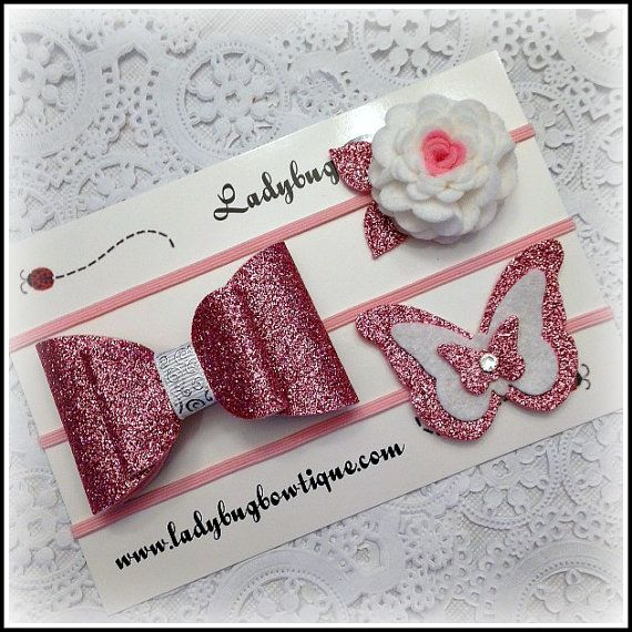 Wool Felt Glitter Hair Trio Clips or Skinny by LadybugBowtique
