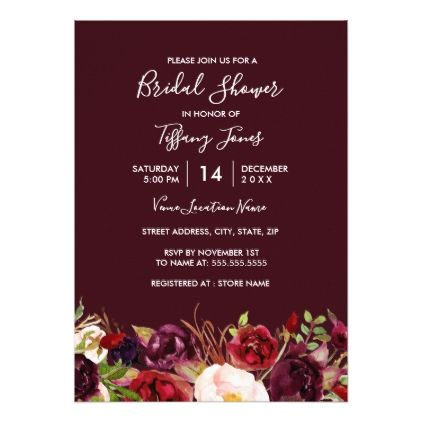 Marsala Red Burgundy Floral Bridal Shower Card - spring wedding diy marriage customize personalize couple idea individuel