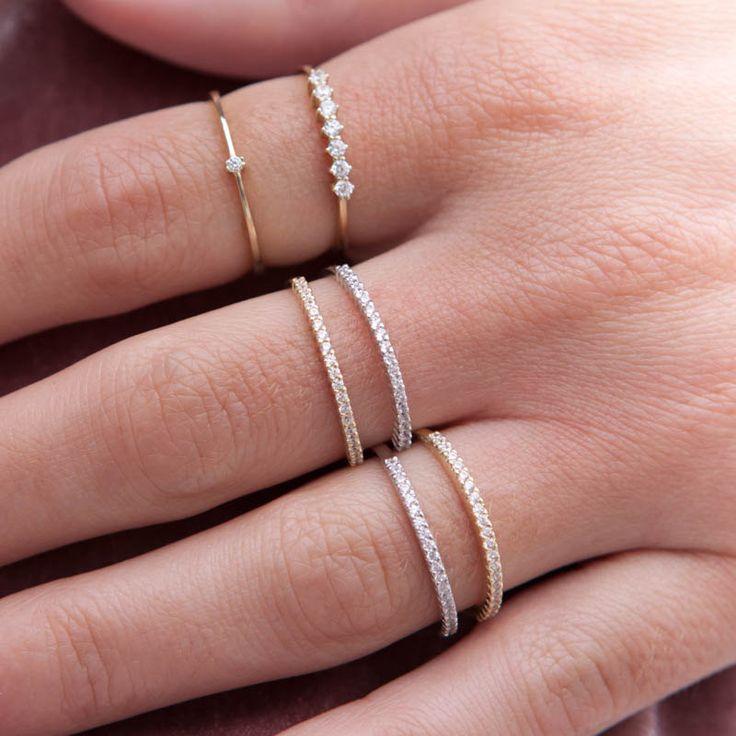 7 Stone Gold Ring, Half Eternity Ring, Engagement Ring, Wedding Ring, Thin Gold Ring, Gold Stacking Ring, 7 Stone Wedding Ring, Prong Ring