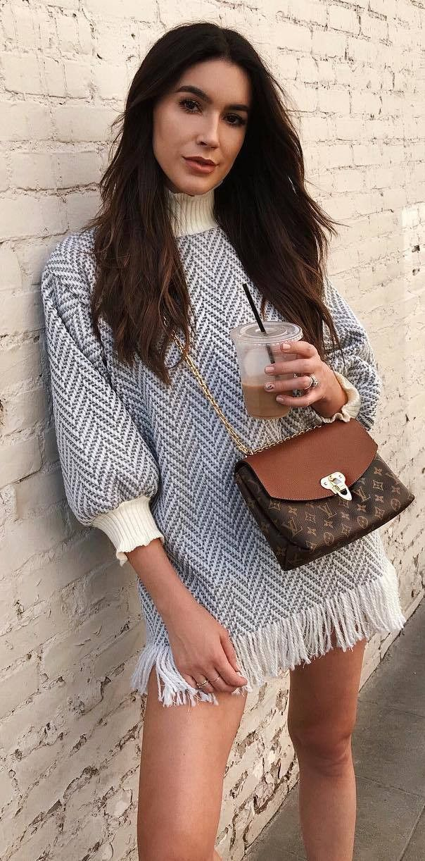 amazing outfit / dress + brown bag