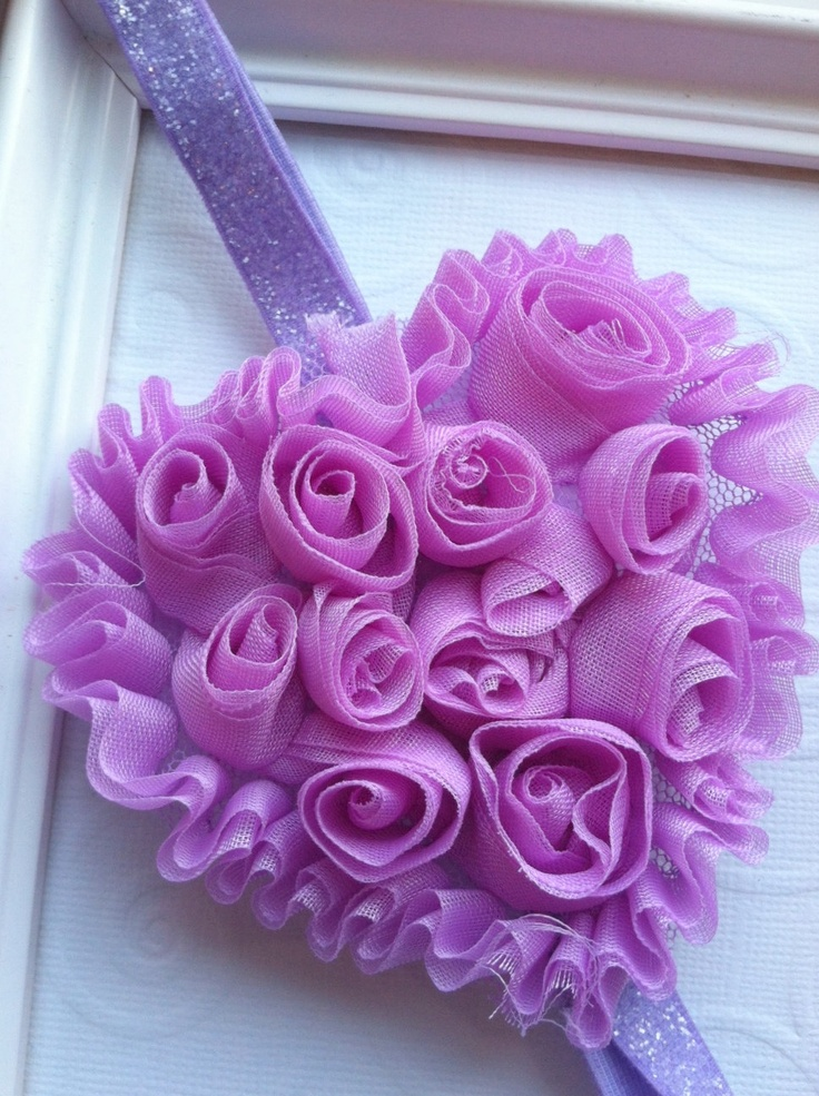 Lavender Shabby Chic Chiffon Heart on Glitter by CCsChicBowtique, $6.50