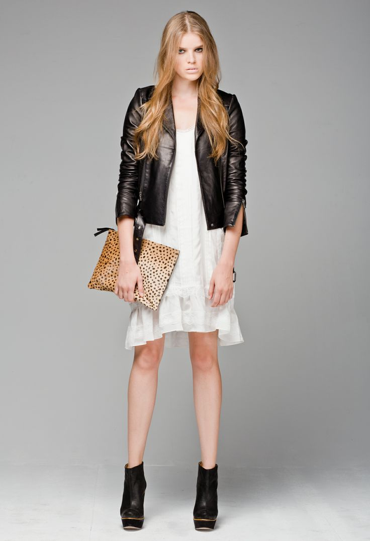 Little Joe Woman's Drop a Question silk shift dress, paired with the Wolf Whistle Leather Jacket, and the Luna leather clutch