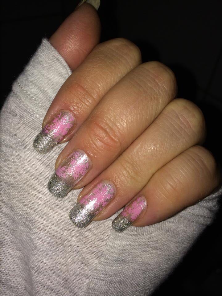 Glitter och rosa snöflingor