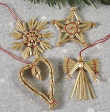 "Straw Ornament Set (34 pc set) @hemslojd: Code: 2964 Price: $14.00 Decorations handmade of straw have a long tradition in Sweden. This collection of 34 ornaments includes stars, snowflakes, angels, bells, pinecones, and julbocks. (Sorry, no hearts in the set this year.) It will be a nice addition to your Christmas tree or wooden ornament tree. Each is about 2 to 2.25"" tall. The set comes in a small wooden box and is tied with a red ribbon."