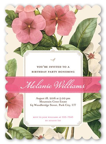 Lovely Garden 5x7 Invitation Card | Birthday Party Invitations More