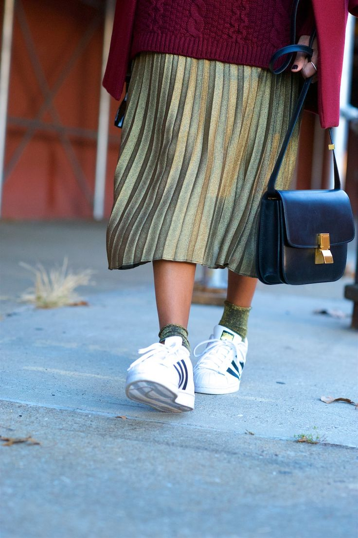 gold metallic pleated skirts