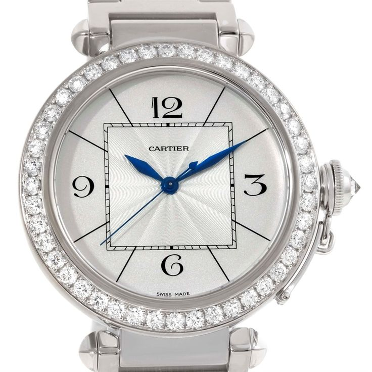 Cartier Pasha 42mm 18K White Gold Diamond Watch WJ1202M9