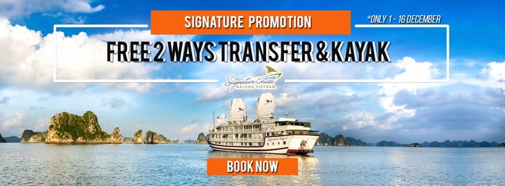 🔰[Super December 2016 Promotion]🔰 Book now to get :  👉 Free 2 Ways Transfer & Kayak !! This promotion is available for bookings which have check- in date from 1-Dec 2016 until 16-Dec, 2016.  ⚠ Please add the code of HD121216 in the subject as you send your booking emails to us. ⚠ Please be noted that this Special Offer is applicable for new booking only. Cancellation and rebook of exiting reservation are not permitted.  #SignatureCruise #DecemberPromotion #FreeTransfer #FreeKayak